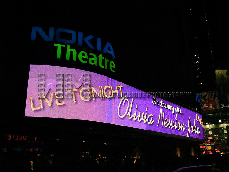Olivia Newton-John.( Theatre Marquee ).Performing Live at the Nokia Theatre in .Times Square, New York City..October 11, 2005.© Walter McBride /  .