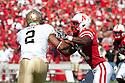 11 September 2010: Nebraska cornerback Prince Amukamara (21) is defending against Idaho wide receiver Maurice Shaw (2)