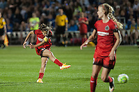 Kansas City, Mo. - Saturday April 23, 2016: Portland Thorns FC midfielder Tobin Heath (17) gets off a shot against FC Kansas City at Swope Soccer Village. The match ended in a 1-1 draw.