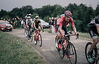 Lars Bak (DEN/Lotto-Soudal) hanging on to the peloton up the first HC climb of the day; the Col de la Biche (10.5km @9%)<br /> <br /> 104th Tour de France 2017<br /> Stage 9 - Nantua › Chambéry (181km)