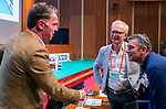 UTRECHT - KNHB bestuurslid Mark Pel met   met Marc Hans Smith en Richard Kleve  , sprekers  . Nationaal Hockey Congres van de KNHB, COPYRIGHT KOEN SUYK