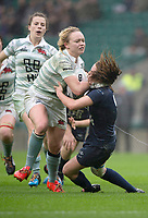 Twickenham, Surrey. UK.  Mary COLEMAN, driving through, Pat METCFE-JONES, during the 2017 Women's Varsity Rugby Match, Oxford vs Cambridge Universities. RFU Stadium, Twickenham. Surrey, England.<br />