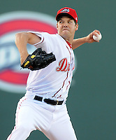 Left handed pitcher Rich Hill (53) of the Boston Red Sox throws a pitch in a Major League rehab assignment with the Greenville Drive in a game against the Lakewood BlueClaws on April 7, 2012, at Fluor Field at the West End in Greenville, South Carolina. (Tom Priddy/Four Seam Images).