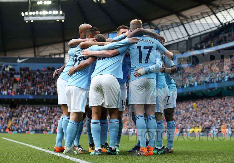 Manchester City players celebrate their second goal during the premier league match at the Etihad Stadium, Manchester. Picture date 22nd April 2018. Picture credit should read: Simon Bellis/Sportimage