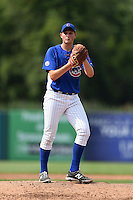 Adam Wolf (38) of Edison High School in Milan, Ohio playing for the Chicago Cubs scout team during the East Coast Pro Showcase on August 1, 2014 at NBT Bank Stadium in Syracuse, New York.  (Mike Janes/Four Seam Images)