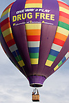 Hot air balloons, including this one, promoting drug-free sports, dot the skies at the 2008 Shenandoah Valley Hot Air Balloon Festival at Historic Long Branch in Millwood, Virginia.