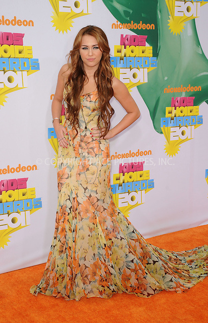 WWW.ACEPIXS.COM . . . . . ....April 2 2011, Los Angeles....Singer and actress Miley Cyrus arriving at Nickelodeon's 24th Annual Kids' Choice Awards at Galen Center on April 2, 2011 in Los Angeles, CA....Please byline: PETER WEST - ACEPIXS.COM....Ace Pictures, Inc:  ..(212) 243-8787 or (646) 679 0430..e-mail: picturedesk@acepixs.com..web: http://www.acepixs.com