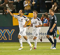 CARSON, CA – May 14, 2011: LA Galaxy midfielder Landon Donovan (10) celebrates his goal during the match between LA Galaxy and Sporting Kansas City at the Home Depot Center in Carson, California. Final score LA Galaxy 4, Sporting Kansas City 1.
