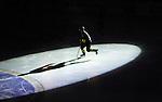 Stockholm 2015-01-04 Ishockey Hockeyallsvenskan AIK - Vita H&auml;sten :  <br /> AIK:s Robin Kovacs i skenet av en spotlight under ett intro inf&ouml;r matchen mellan AIK och Vita H&auml;sten <br /> (Foto: Kenta J&ouml;nsson) Nyckelord:  AIK Gnaget Hockeyallsvenskan Allsvenskan Hovet Johanneshov Isstadion Vita H&auml;sten portr&auml;tt portrait intro creative genre