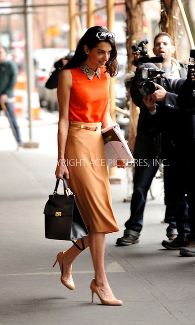 WWW.ACEPIXS.COM<br /> <br /> ASpril 7 2015, New York City<br /> <br /> George Clooney's wife Amal Clooney leaves a restaurant in the West Village on April 7 2015 in New York City<br /> <br /> By Line: Curtis Means/ACE Pictures<br /> <br /> <br /> ACE Pictures, Inc.<br /> tel: 646 769 0430<br /> Email: info@acepixs.com<br /> www.acepixs.com