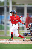 GCL Red Sox center fielder Lorenzo Cedrola (12) at bat during the second game of a doubleheader against the GCL Rays on August 9, 2016 at JetBlue Park in Fort Myers, Florida.  GCL Rays defeated GCL Red Sox 9-1.  (Mike Janes/Four Seam Images)