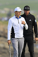 Jordan Spieth and Dustin Johnson (USA) on the 18th green during Saturday's Round 3 of the 2018 AT&amp;T Pebble Beach Pro-Am, held over 3 courses Pebble Beach, Spyglass Hill and Monterey, California, USA. 10th February 2018.<br /> Picture: Eoin Clarke | Golffile<br /> <br /> <br /> All photos usage must carry mandatory copyright credit (&copy; Golffile | Eoin Clarke)