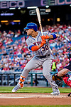 28 April 2017: New York Mets outfielder Michael Conforto at bat against the Washington Nationals at Nationals Park in Washington, DC. The Mets defeated the Nationals 7-5 to take the first game of their 3-game weekend series. Mandatory Credit: Ed Wolfstein Photo *** RAW (NEF) Image File Available ***