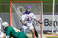 Josh Egan (#43) defends in front of the goal as UAlbany Lacrosse defeats Vermont 14-4  in the American East Conference Championship game at Casey Stadium, May 5.