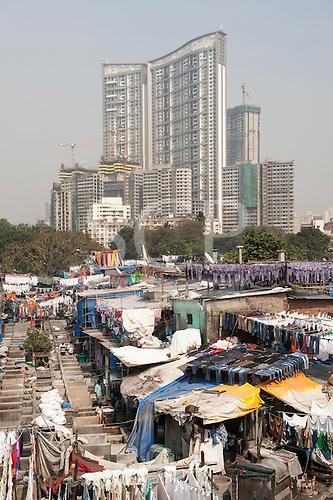 Mumbai, India. Mahalaxmi Dhobi Ghat outdoor open-air laundry, one of Mumbai's main tourist attractions.