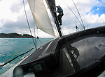 Onboard Alfa Romeo during the Withehaven Beach race at the Hamilton Island Race Week 2005 in the Whitsundays, Australia. .'Alfa Romeo', the second yacht built by New Zealand skipper and owner, Neville Crichton, to carry the name of the Italian car maker, was penned by leading American yacht designers, Reichel/Pugh and built in Sydney by McConaghy Boats.