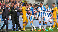 Preston North End's Ben Pearson squares up to Huddersfield Town's Chris Lowe<br /> <br /> Photographer Alex Dodd/CameraSport<br /> <br /> The EFL Sky Bet Championship - Huddersfield Town v Preston North End - Friday 14th April 2016 - The John Smith's Stadium - Huddersfield<br /> <br /> World Copyright &copy; 2017 CameraSport. All rights reserved. 43 Linden Ave. Countesthorpe. Leicester. England. LE8 5PG - Tel: +44 (0) 116 277 4147 - admin@camerasport.com - www.camerasport.com