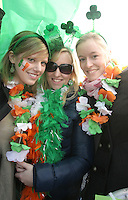17/03/2011.(L to R) Katryn Weiss, Anja Marten & Bianca Sallen all from Cologne Germany .during the St. Patrick's Day festival in Dublin's City Centre..Photo: Gareth Chaney Collins