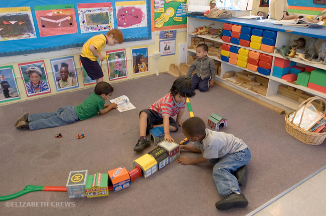 Berkeley CA  Boys involved in various kinds of play at preschool.