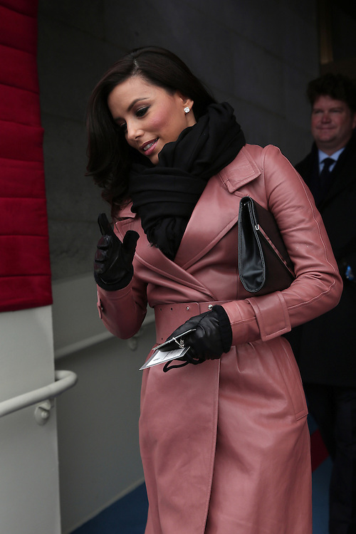 WASHINGTON, DC - JANUARY 21:  Actress Eva Longoria arrives for the presidential inauguration on the West Front of the U.S. Capitol January 21, 2013 in Washington, DC.   Barack Obama was re-elected for a second term as President of the United States.  (Photo by POOL Win McNamee/Getty Images)