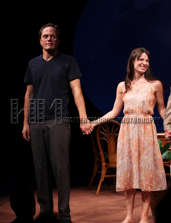Michael Shannon, Kate Arrington during the Opening Night Performance Curtain Call for 'Grace' at the Cort Theatre in New York City on 10/4/2012.