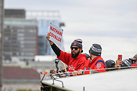 October 31, 2018: Boston Red Sox starting pitcher David Price (24) holds up a Nathan Eovaldi's name card during the Boston Red Sox 2018 World Series championship celebration parade held in Boston, Mass.  Eric Canha/CSM