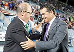 Getafe's coach Luis Garcia salutes Real Betis de Sevilla's coach Pepe Mel during La Liga Match. September 26, 2011. (ALTERPHOTOS/Alvaro Hernandez)