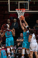 STANFORD, CA - December 4, 2016: Dijonai Carrington, Erica McCall at Maples Pavilion. Stanford defeated UC Davis, 68-42. The Cardinal wore turquoise uniforms to honor Native American Heritage Month