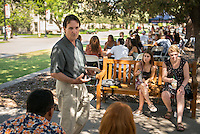 John Bouchard, Professor, Theater. Incoming first years meet with their faculty advisors during the Major Information Sessions & Advising part of Orientation in the Academic Quad, Aug. 24, 2015.<br /> (Photo by Marc Campos, Occidental College Photographer)