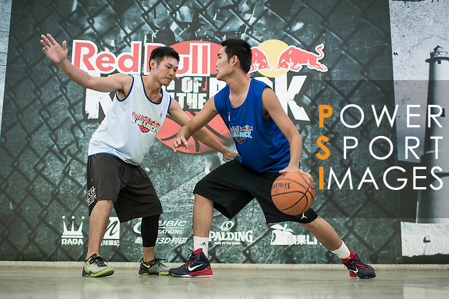 Symbolt and Yeh pose for a portrait ahead the Red Bull King of the Rock Taiwan National Finals on July 18, 2015 at the Kaohsiung University basketball court in Kaohsiung, south Taiwan. Photo by Victor Fraile / Power Sport Images