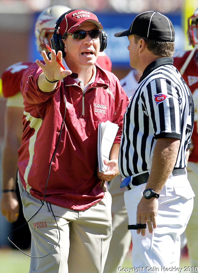 TALLAHASSEE, FL 10-FSU-BC 101610 FB10 CH-Florida State Head Coach Jimbo Fisher disputes a call that Rodney Smith stepped out of bounds in the endzone during second half Boston College action Saturday at Doak Campbell Stadium in Tallahassee. The Seminoles beat the Eagles 24-19. .COLIN HACKLEY PHOTO