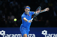 Switzerland's Roger Federer during his match against Japan's Kei Nishikori<br /> <br /> Photographer Rob Newell/CameraSport<br /> <br /> International Tennis - Nitto ATP World Tour Finals Day 1 - O2 Arena - London - Sunday 11th November 2018<br /> <br /> World Copyright &copy; 2018 CameraSport. All rights reserved. 43 Linden Ave. Countesthorpe. Leicester. England. LE8 5PG - Tel: +44 (0) 116 277 4147 - admin@camerasport.com - www.camerasport.com