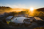 Sunrise at the Siphon Hotsprings with the High Sierra mountains in the Owens Valley just south of Mammoth Lakes along California's scenic desert highway 395.