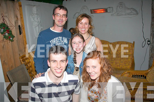 HAPPY BIRTHDAY: Michael Godley, Clogherbrien, Tralee, enjoying a evening in Bella Bia restaurant, Tralee, with his parents, sister and girlfriend to mark his 18th birthday on Friday, pictured front Michael and girlfriend Sinead O'Connor. Back l-r: Michael (Snr), Emma and Marie Godley.