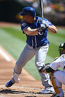 OAKLAND, CA - APRIL 16:  Kendrys Morales #25 of the Kansas City Royals bats against the Oakland Athletics during the game at the Oakland Coliseum on Saturday, April 16, 2016 in Oakland, California. Photo by Brad Mangin