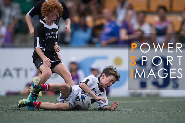 A children's exhibition match between Island U12 and Peninsula U12 teams as part of the GFI HKFC Rugby Tens 2017 on 06 April 2017 in Hong Kong Football Club, Hong Kong, China. Photo by Marcio Rodrigo Machado / Power Sport Images