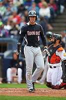 New Britain Rock Cats catcher Tom Murphy (9) at bat during a game against the Akron RubberDucks on May 21, 2015 at Canal Park in Akron, Ohio.  Akron defeated New Britain 4-2.  (Mike Janes/Four Seam Images)