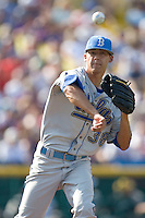 UCLA pitcher Garett Claypool in Game 11 of the NCAA Division One Men's College World Series on June 25th, 2010 at Johnny Rosenblatt Stadium in Omaha, Nebraska.  (Photo by Andrew Woolley / Four Seam Images)