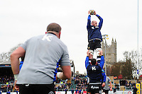Bath Rugby forwards practise their lineout during the pre-match warm-up. Aviva Premiership match, between Bath Rugby and Saracens on December 3, 2016 at the Recreation Ground in Bath, England. Photo by: Patrick Khachfe / Onside Images