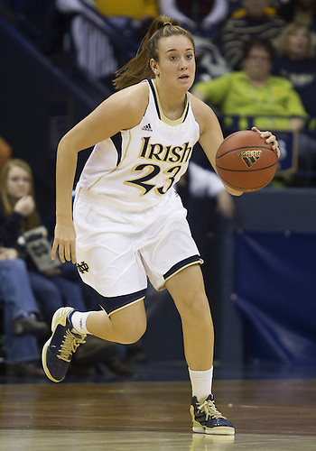 January 26, 2013:  Notre Dame guard Michaela Mabrey (23) dribbles the ball during NCAA Basketball game action between the Notre Dame Fighting Irish and the Providence Friars at Purcell Pavilion at the Joyce Center in South Bend, Indiana.  Notre Dame defeated Providence 89-44.