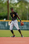 5 March 2019: Pittsburgh Pirates minor league shortstop and Top Prospect Oneil Cruz works on infield drills at Pirate City in Bradenton, Florida. Mandatory Credit: Ed Wolfstein Photo *** RAW (NEF) Image File Available ***