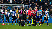 Match officials and players from both sides shake hands at the end of the match <br /> <br /> Photographer Andrew Kearns/CameraSport<br /> <br /> The EFL Sky Bet Championship - Sheffield Wednesday v Leeds United - Saturday 26th October 2019 - Hillsborough - Sheffield<br /> <br /> World Copyright © 2019 CameraSport. All rights reserved. 43 Linden Ave. Countesthorpe. Leicester. England. LE8 5PG - Tel: +44 (0) 116 277 4147 - admin@camerasport.com - www.camerasport.com