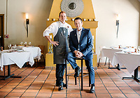 Wine Director and Owner of Barolo Grill Ryan Fletter and Chef Darrel Truett in Denver, Colorado, Wednesday, May 23, 2018. Barolo Grill was awarded the Grand Award for 2018 by Wine Spectator Magazine.<br /> <br /> Photo by Matt Nager