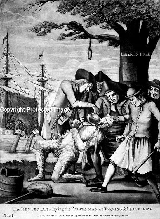 The Bostonian's Paying the Excise-Man, or Tarring &amp; Feathering.  Copy of mezzotint attributed to Philip Dawe, 1774.  (George Washington Bicentennial Commission)<br />