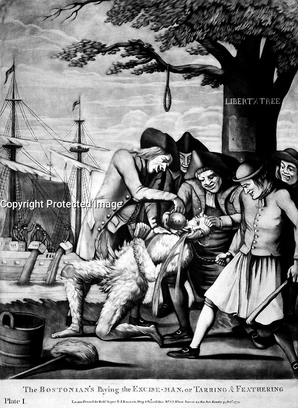 The Bostonian's Paying the Excise-Man, or Tarring &amp; Feathering.  Copy of mezzotint attributed to Philip Dawe, 1774.  (George Washington Bicentennial Commission)<br />Exact Date Shot Unknown<br />NARA FILE #:  148-GW-436<br />WAR &amp; CONFLICT #:  5