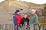 Pictured on Ballyheigue beach at the erosion of the sand dunes on Sunday last were local residents, l-r: Kevin Fay and Joanne and Patsy O'Connor Ballyheigue