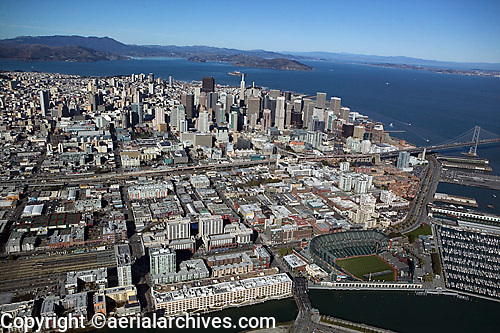 aerial photograph 185 Berry St, Giants stadium, San Francisco, California