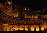 Great Hemicycle of Trajan's Market and Medieval Apartments at night Trajan's Forum Rome