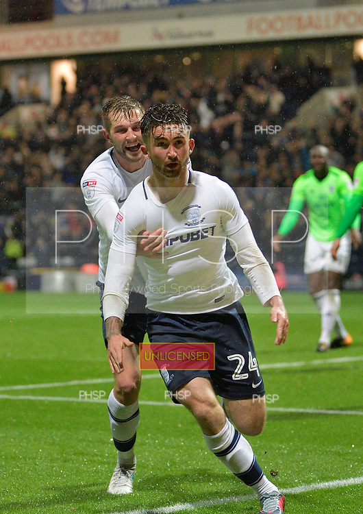 12/09/2017 Sky Bet League Championship Preston North End v Cardiff City<br /> <br /> Sean Maguire celebrates after scoring Preston North End's second goal