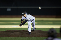 Wake Forest Demon Deacons relief pitcher Bobby Hearn (34) delivers a pitch to the plate against the Louisville Cardinals at David F. Couch Ballpark on March 6, 2020 in  Winston-Salem, North Carolina. The Cardinals defeated the Demon Deacons 4-1. (Brian Westerholt/Four Seam Images)